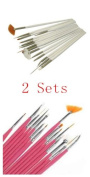 Huaha 15pcs Acrylic Nail Art Design Painting Tool Pen Polish Brush Set 2 Sets