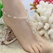 HuaYang Crystal Imitation Pearl Light Brown Beads Barefoot Sandals Adorn Extensible Foot Ring Anklet Chain