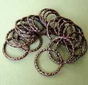 BeadsTreasure 10-Connector Link Ring Textured Hammered Antique Copper - 23mm.