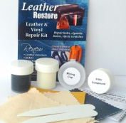 Leather Restore Air Dry Leather and Vinyl Repair Kit Fixes Rips Scratches Holes on Black White Grey Furniture Sofas Auto Seats