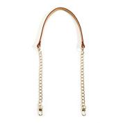 80cm byhands 100% Genuine Leather Metal Chain Shoulder Bag Cross Strap