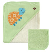 Hudson Baby Rayon from Bamboo Hooded Bath Towel and Washcloth, Green Turtle