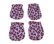 4 Pairs Cotton Newborn Baby/infant Girl No Scratch Mittens Gloves - Pink Leopard