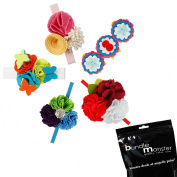 Bundle Monster 5pc Baby Girl Newborn Felt Flowers Soft Elastic Headband Mix Set