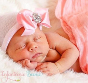 "Infanteenie Beenie ""Her First Bling"" Pink and White Newborn Hospital Hat with Bow and Rhinestone"