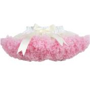 Buenos Ninos Girl's Dance Tutus Chiffon Pettiskirt Size 3-4T Ivory with Pink Ruffle