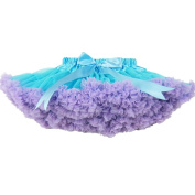 Buenos Ninos Girl's Dance Tutus Chiffon Pettiskirt Size 3-4T Blue with Lanvender Ruffle