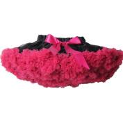 Buenos Ninos Girl's Dance Tutus Chiffon Pettiskirt Size 7-8T Black with Hot Pink Ruffle