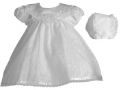 Lauren Madison Baby-Girls Newborn Cotton Cross Embroidered Dress Gown Outfit
