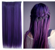 Uniwigs Dark Purple Colour Clip in Hair Extension 60cm Length Straight for Fashion Cool Women Tbe0025
