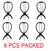 Topicker Black Wig Stand, Portable Wig Stand, Wig Dryer, 6pcs