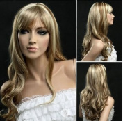Kamo 55cm Long Avant Garde Cosplay Costume Wave Hair Wig Ladies Synthetic Replacement Wigs Golden Blonde