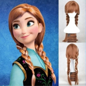 PING2®New Disney Princess Frozen Snow Queen Anna Brown Weave Ponytail Cosplay WigsNew Disney Princess Frozen Snow Queen Anna Brown Weave Ponytail Cosplay Wigs