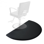 0.9m x 1.5m Salon & Barber Shop Chair Anti-Fatigue Floor Mat - Black Semi Circle - 1.6cm Thick