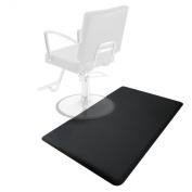 0.9m x 1.5m Salon & Barber Shop Chair Anti-Fatigue Floor Mat - Black Rectangle - 1.6cm Thick