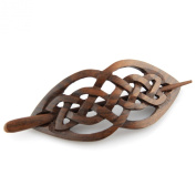Evolatree - Hand Carved Sono Wood Celtic Love Intertwined Knot Hair Pin Barrette - 10cm