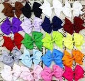 20pcs 7.6cm Boutique Hair Bows Girls Kids Children Alligator Clip Grosgrain Ribbon Headbands 20 Colour