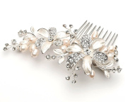 USABride Side Bridal Comb, Wedding Hairpiece with Flowers, Pearls, & Rhinestones 2050