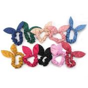 niceEshop(TM) Cute Womens Dot Rabbit Ear Hair Bow Tie Bands Chiffon Ponytail Holder,Multicolor