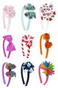 HipGirl Boutique Girls Interchangable Hair Bow and Headband Set Value Pack