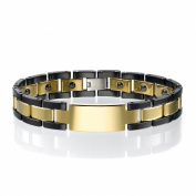 Two Tone Ceramic and Tungsten Gold & Black Bracelet For Men Link H Style