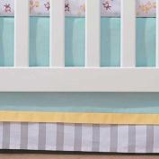 Breathable Baby Aqua Mist Stripe Crib Skirt