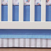 Breathable Baby Blue Mist Stripe Crib Skirt