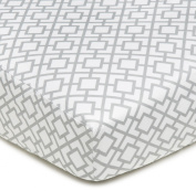American Baby Company 100% Cotton Percale Fitted Crib Sheet, Grey Lattice