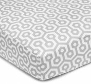 American Baby Company 100% Cotton Percale Fitted Crib Sheet, Grey Honeycomb