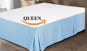 Utopia Bedding Cotton Sateen Bed-Skirt (Queen, Blue) - 100% Finest Quality Long Staple Fibre - Durable, Comfortable and Abrasion Resistant, Quadruple Pleated, Cotton Blended Platform
