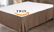 Utopia Bedding Cotton Sateen Bed-Skirt (Twin, Brown) - 100% Finest Quality Long Staple Fibre - Durable, Comfortable and Abrasion Resistant, Quadruple Pleated, Cotton Blended Platform