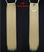 """24""""(60cm) 110g Long Straight Synthetic Ribbon Ponytails Clip in Hair Extensions Honey Blonde#24"""