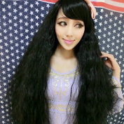 4 Colours Women Corn Perm Fluffy Long Curly Wig Oblique Bangs Hair