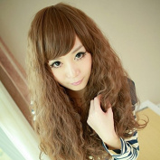 4 Colours Women Corn Perm Fluffy Long Curly Wig Oblique Bangs Hair