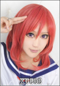 Love Live! Nishikino Maki Red Wavy Cosplay Fashion Wig + Free Wig Cap