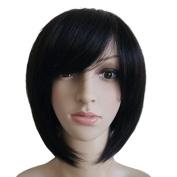 Fashion Women Lady Short Bob Straight Human Hair Wig - Black