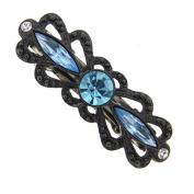 Black-Tone Aquamarine Crystal Mimi Barrette
