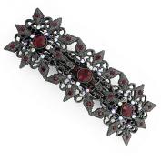 Black-Tone Siam Red Crystal Barrette