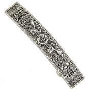 Silver-Tone Floral Bar Barrette