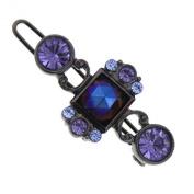 Black-Tone Dark Amethyst and Light Sapphire Crystal Barrette