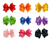 Funny Girl- (Set of 9) Handmade 11cm Grosgrain Hair Bows Deluxe Gift Set