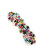 Women's Rhinestone Metal Hair Barrette Clip Hair Pin Antique Silver IMB2136