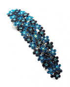 Women's Rhinestone Metal Hair Barrette Clip Hair Pin Antique Silver IMB2113