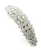 Women's Rhinestone Metal Hair Barrette Clip Hair Pin Antique Silver IMB2113