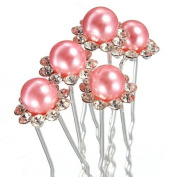 5X Wedding Bridal Lady Crystal Rhinestone Pearl Flower Hairpins Hair Pin Clips
