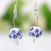 Libaraba(TM) Chinease Style Handmade Ceramics Earrings,Plum Blossom Earrings