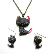 Libaraba(TM) Cute Drop Glaze Cat Necklace and Earrings,Topgrade Jewellery Set