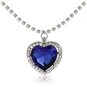 Libaraba(TM) Luxury Dark Blue Crystal Heart Pendant Clavicular Necklace,Rhinestone Chain Necklace