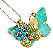 Libaraba(TM) Drop Glaze and Colourful Rhinestone Butterfly Multilayer Long Sweater Necklace