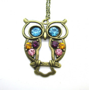 Libaraba(TM) Retro Colourful Crystal Studded Hollow Owl Long Sweater Necklace